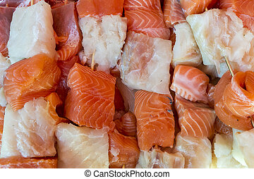 Salmon and cod skewer