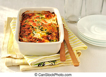 Salmon and Vegetable Bake - Salmon (or trout), cheese and...
