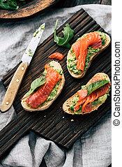 Salmon avocado toast sandwiches