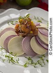 Salmon Ceviche. Traditional peruvian dish.