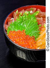Salmon Chirashi or shake / sake served with preserved ginger