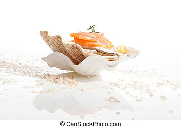Salmon. Culinary seafood background. - Luxurious gourmet...