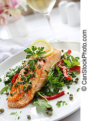 Salmon Dinner - Grilled Atlantic salmon with a rocket salad,...