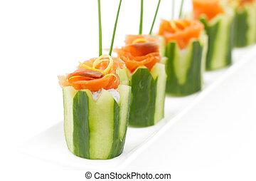 salmon, en, komkommer, voorgerecht