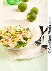 Salmon Fettuccine - Salmon fettuccine with peas a creamy ...