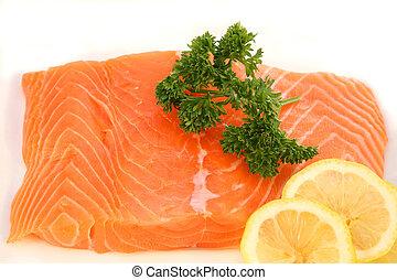 salmon, filet, garneren