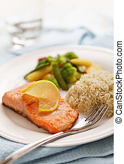 salmon filet meal - fresh cooked salmon filet meal with...