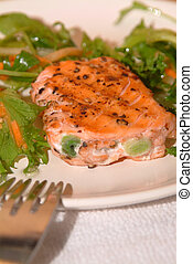 salmon filet on a plate with some green salat