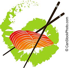 Salmon fillet and chopsticks - Fillet of salmon with...
