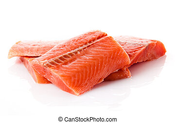 salmon fillet. Fresh sliced salmon fish