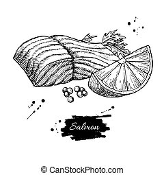 Salmon fillet hand drawn vector illustration. Engraved style vintage seafood.