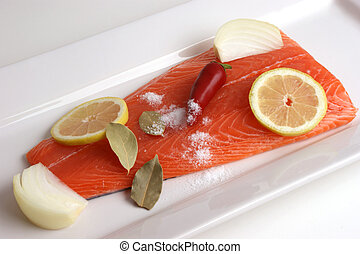 Salmon fillet on a white plate is prepared as food
