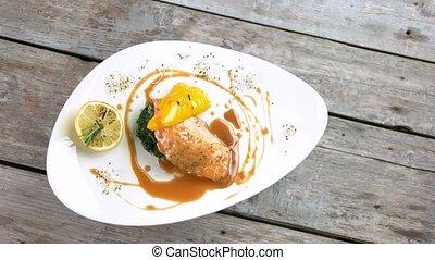 Salmon fillet, soy caramel sauce. Tasty restaurant food top...