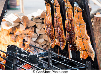 Salmon fillet steak fish on grill