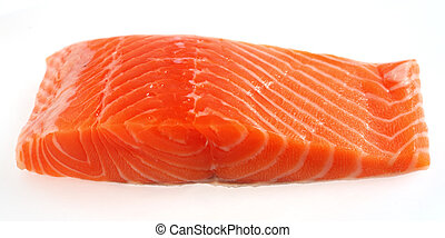 Salmon fillet steak over white - A piece of salmon fillet...