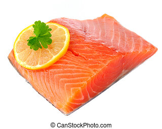 Salmon Fillet with Lemon Isolated on White Background