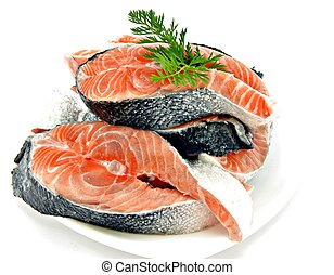 Salmon fillets, isolated on white background