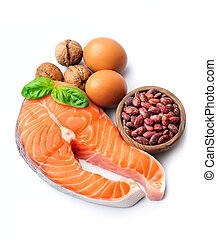 Salmon fish and beans . Healthy food. - Healthy food. Salmon...