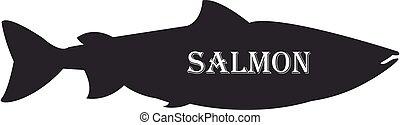 Salmon fish black silhouette