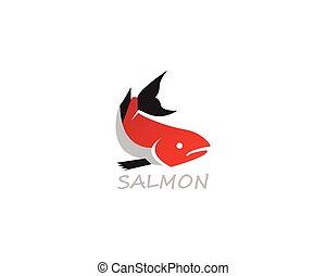 Salmon fish logo design vector on white background