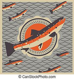 Salmon fish mascot in retro style background