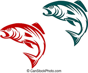 Salmon fish in two variations for fishing sports mascot