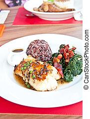 Salmon fish pepper steak