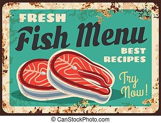 Salmon fish steak, fillet rusty plate, seafood