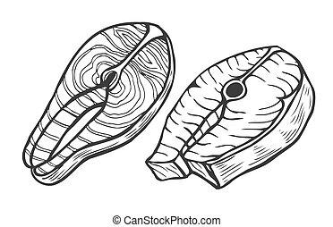 Salmon fish tuna steak