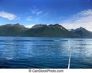 Salmon Fishing on Valdez Bay - Fishing rod sits in lower ...