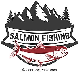 Salmon fishing. Salmon on background with mountains. Design element for logo, label, emblem, sign.