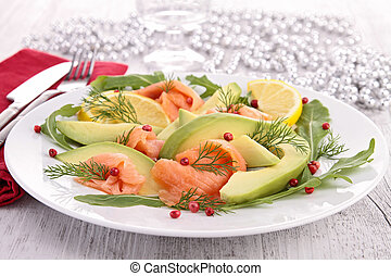 salmon, gerookt, avocado
