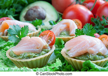 salmon, guacomole, canapes, groente, achtergrond