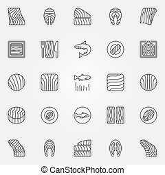 Salmon icons set. Vector trout or salmon fish steak symbols