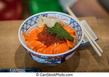 """Salmon Ikura Don"" - Salmon Ikura Don made from fresh salmon..."