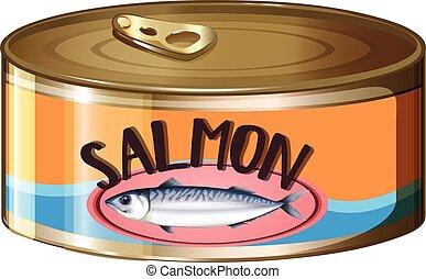 Salmon in aluminum can