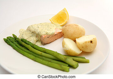 Salmon in dill sauce 2 - Poached salmon in dill sauce, with...