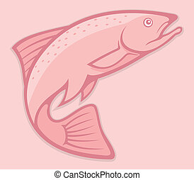 Salmon lineart - Illustration of a jumping salmon on pink ...