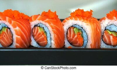 salmon maki roll Japanese sushi - Video of salmon maki roll....