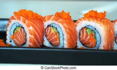 salmon maki roll Japanese sushi