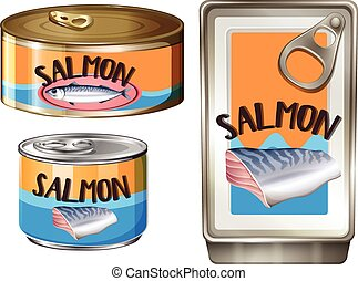 Salmon meat in aluminum cans