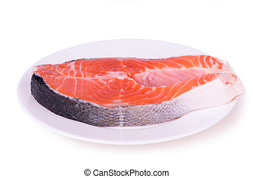 salmon on a white plate