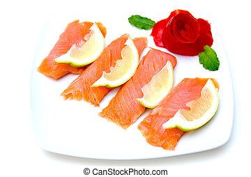 Salmon on dish