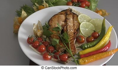Salmon on the grill - Fish salmon grilled with fresh herbs...