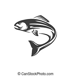 Atlantic salmon ray-finned fish isolated monochrome icon. Vector salmon freshwater fish, seafood, marine food, fishery sport mascot. Grayling whitefish fishing trophy, underwater animal, trout, char