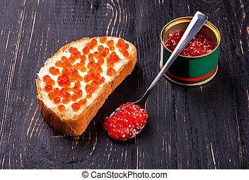 Salmon red caviar