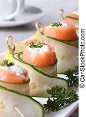 salmon rolls with cucumber, cream cheese vertical