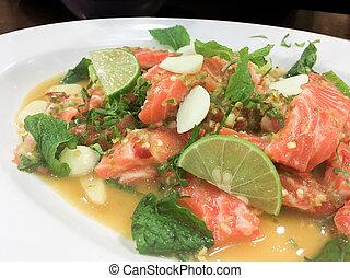 Salmon salad in Thai style