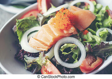 salmon salad with Healthy vegetables