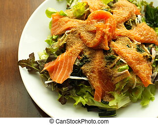 salmon salad with vegetables